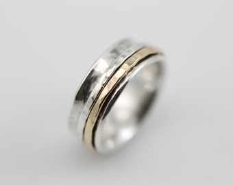 Narrow Hammered Spinner Ring, Spinner Ring, Meditation Ring, Women's Spinner Ring, Statement Ring
