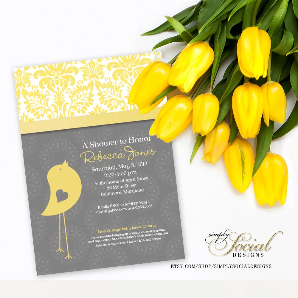 Baby Bird Theme Baby Shower Invitation Grey and Yellow