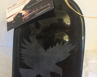 Hawk Etched Amber Glass Wine Bottle Cheese Tray Platter