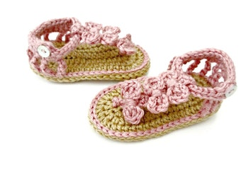 Seaside Sandals - Baby Girl Sandals- Pink and Tan - Custom Made - Bow Sandals