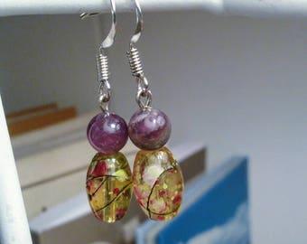 Amethyst Paint Splatter Drop Earrings Gemstone Jewelry February Birthstone Amethyst Birthstone Short Dangle Earrings Gifts under 20 For Her