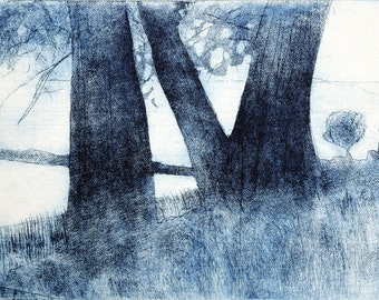 Blue Trees at Avebury, Etching