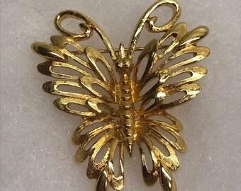 Beautiful Monet Gold Tone Butterfly Brooch
