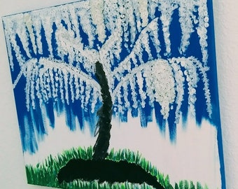 White tree painting 16x20