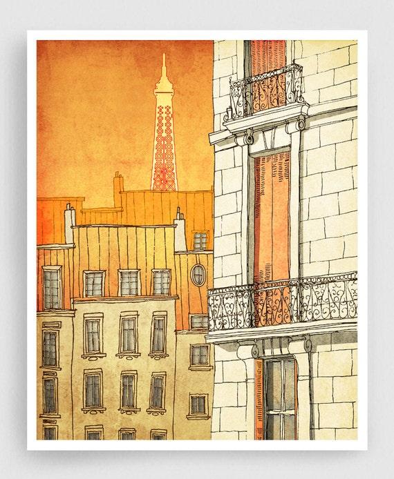 Paris illustration Paris windows Art illustration Prints
