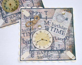 Mens Card Toppers Birthday Time clocks timepieces toppers for mens card making crafts and scrapbooking embellishments