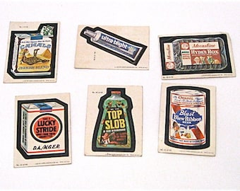 Wacky Packages c1979 Stickers, Topps Chewing Gum Inc, 6 Cards
