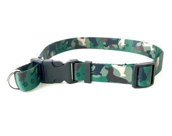 No Choke Dog Lovers Safe Cinch Dog Collar in Green Camo Camouflage CamoPAW with d-ring adjustable X-Small Small Medium Large X-Large