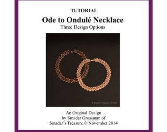 Beading Tutorial, Ode to Ondule Necklace - 2 Design Options. Beading Pattern with Long Magatama. Jewelry Making Pattern by Smadar Grossman