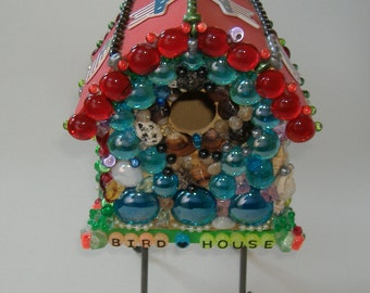 Decorative Birdhouse with Stand, Beaded Birdhouse, Stars and Stripes Birdhouse, Decorative Birdhouse, Patriotic Birdhouse, Indoor Birdhouse