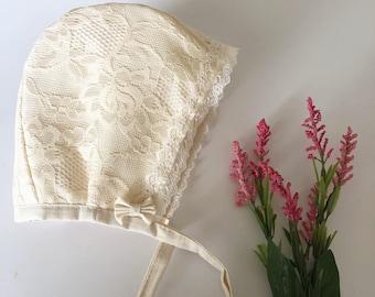 6-12 months ready to ship lace bonnet.