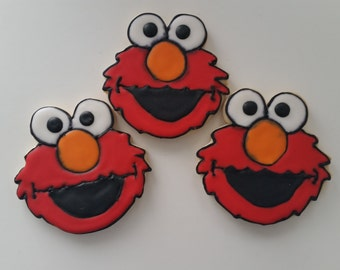 Elmo Decorated Sugar Cookies 1 dozen (12 cookies)