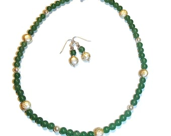 Green Aventurine and Pearl Necklace and Earrings. Classic Jewelry. Chic Jewelry. Jewelry Set S38