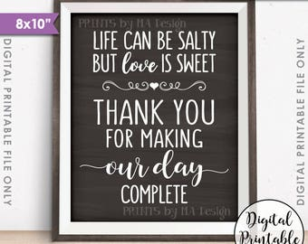 """Popcorn Sign, Life can be salty Love is Sweet Thanks making our day complete 8x10"""" Chalkboard Style Printable Instant Download Wedding Sign"""