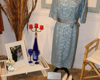 Vintage 1950s, Mother Of The Bride ensemble. Blue lace illusion dress with matching shoes and purse.