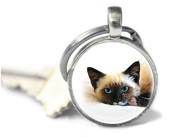 Cat Key Chain - Cat Keychain - Glass Keychain - Cat Gifts (key chain 2)