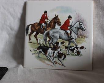 Vintage Mettlach Villeroy , Boch Wall Tile Made in SAAR Germany Hunting Scene