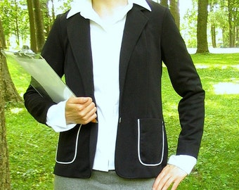 Black Jacket with White Trim, Vintage 1970's Unlined Blazer, Modern Size 4 - 6, Extra Small to Small