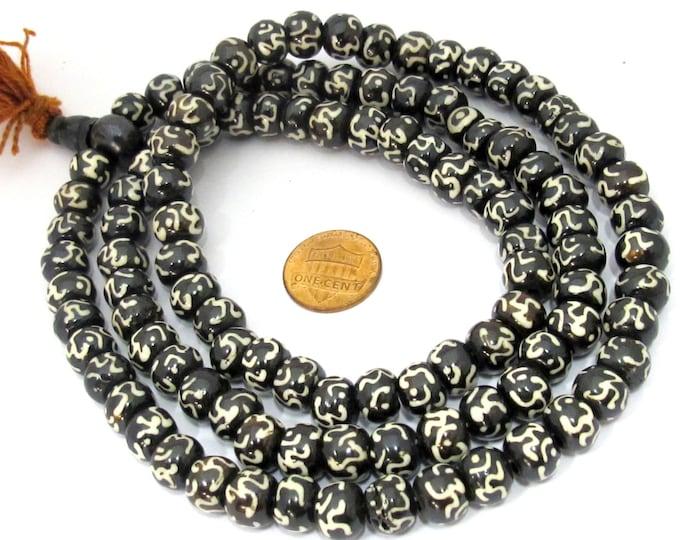 108 mala BEADS - Tibetan 108 mala making beads - sanskrit Om etched black brown bone beads 10 mm size - ML035A