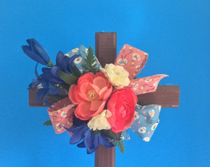 Cemetery cross, grave decoration, memorial cross, Floral Memorial, cemetery flowers, grave marker, flowers for grave