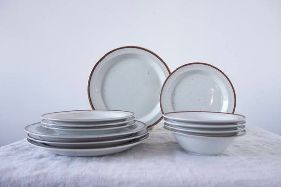 Like this item? & Vintage Dinnerware Set 12 Piece Speckled Stoneware Dish Set