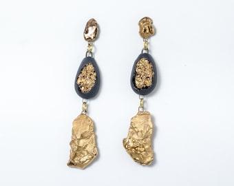 Porzellan Ohrringe, Ohrringe Keramik, Luxus-Ohrringe, exklusive Ohrringe, schwarze Ohrringe, schwarz und gold Ohrringe, einzigartige Ohrringe