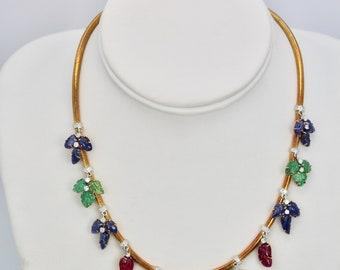 Tutti Frutti Necklace Diamonds Carved Emeralds, Rubies, Sapphires 18K Gold