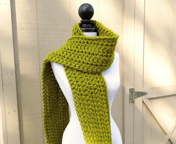 Crocheted Scarf - New Englander Scarf in Lemongrass Green Scarf - Green Womens Scarf Accessories