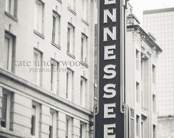 Tennessee Theatre, Knoxville Tennessee, Gay Street, Black and White Photography, Fine Art Photography, Marquee Sign, Vintage KNoxville,