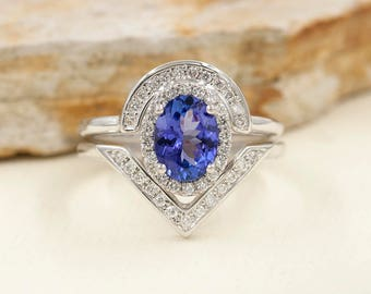 2 PCS Tanzanite Engagement Ring.Natural Tanzanite Diamond Engagement Ring.14k White Gold Engagement Ring.0.38ct High Quality Diamond Ring