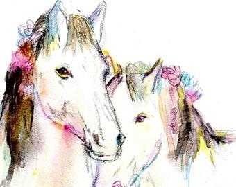 Horse Watercolor Print, Print of Horse Painting, Watercolor Horse Art, Animal Painting, Watercolor Animal Art, Nursery Art, Horse Love Art