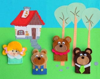 Goldilocks and the Three Bears Finger Puppet Set