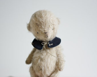 Made To Order Mohair Teddy Bear Fish Embroidered Collar 7 Inches Artist Teddy Bear Stuffed Animal Handmade Toy Soft Toys Personalized Gift