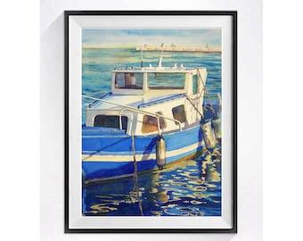 Boat, Art Print, Water landscape, Seascape, fishing boat, 0cean, Aqua, Blue painting, Beach, wall art, Nautical, Wall decor, Watercolor