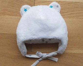 Turquoise and gray Winter Star bear ears baby Hat