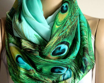 Peacock Feathers mothers day infinity scarf -Accessories- Loop Scarf- Birthday Gift - woman scarves - Mothers day gift ideas - peacock scarf