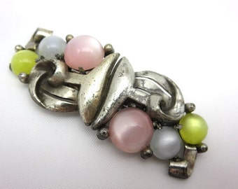 Coro Duette - Pastel Moonglow Lucite Brooch Dress Clips