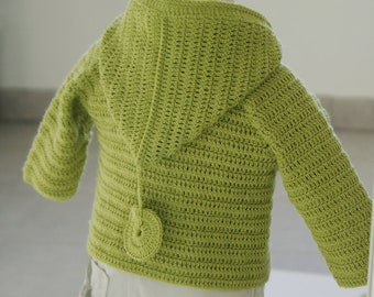 Crochet sweater pattern with hood  Sizes, 0/1 months, 3/6 months, 9/12 months, 18/24 months