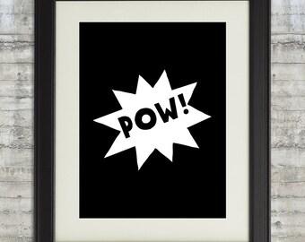POW! Super Hero Wall Art, Comic Burst Printable, Black and white nursery art, boys room decor, super hero wall Art printable, kids room art