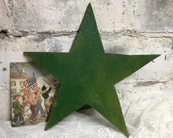 1940s Wooden Star Rustic Primitive Vintage Handmade Folk Art Green