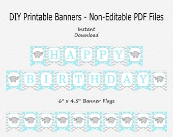 Happy Birthday Banner - Baby Blue & Light Grey - Elephant Little Peanut Birthday Party - PRINTABLE - INSTANT DOWNLOAD