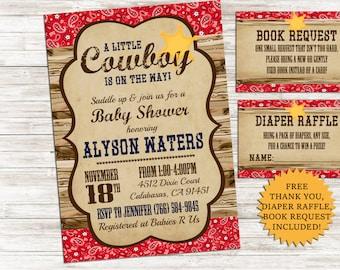 Cowboy Baby Shower Invitation Invite Baby Sprinkle Western Sheriff 5x7 Digital Personalized