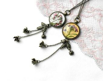 Boho necklace Long tassel necklace gift women necklace pink flower Long statement necklace Tassel jewelry Yellow pendant Purple pendant wife