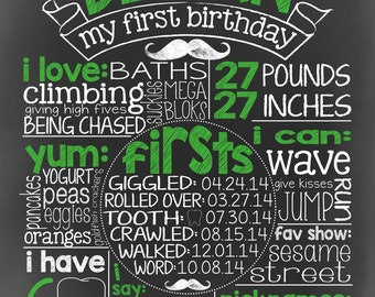 1st Birthday Chalkboard Digital Print
