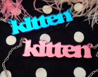 Pink or Blue Acrylic KITTEN Necklace
