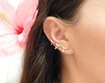 Shark Tooth Ear Climber, Shark Tooth Earrings, Ear Climber Earrings, Gold Ear Climbers, Shark Tooth Ear Crawler, Ear Crawler Earrings