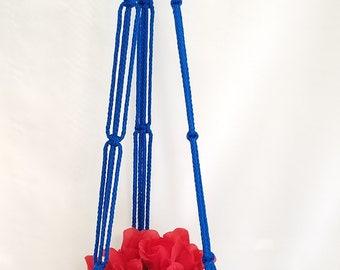 Macrame Plant Hanger 43in SIMPLE 3-ARM 6mm Royal Blue
