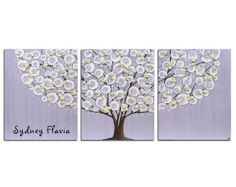 Personalized Nursery Name Art for Baby Girl - Lavender Canvas Tree Painting Textured Wall Art - Large 50x20