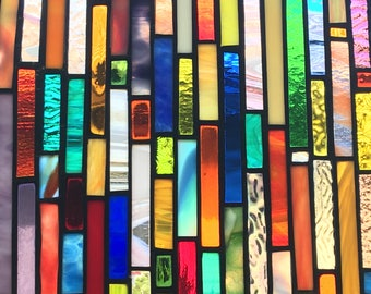 FREE SHIPPING Stained Glass Suncatcher multi colored strips of glass