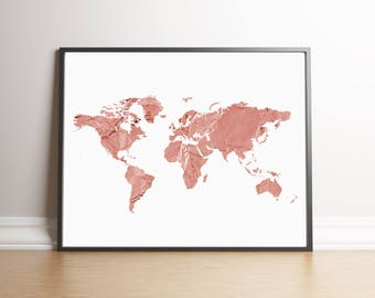 Rose gold world map etsy rose gold world map wall art physical print sciox Gallery